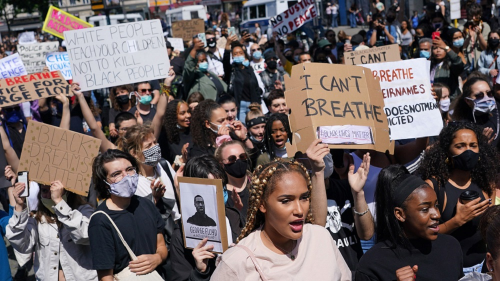 Demonstrators marched in Berlin to protest the death of George Floyd at the hands of police in Minneapolis. (Getty)