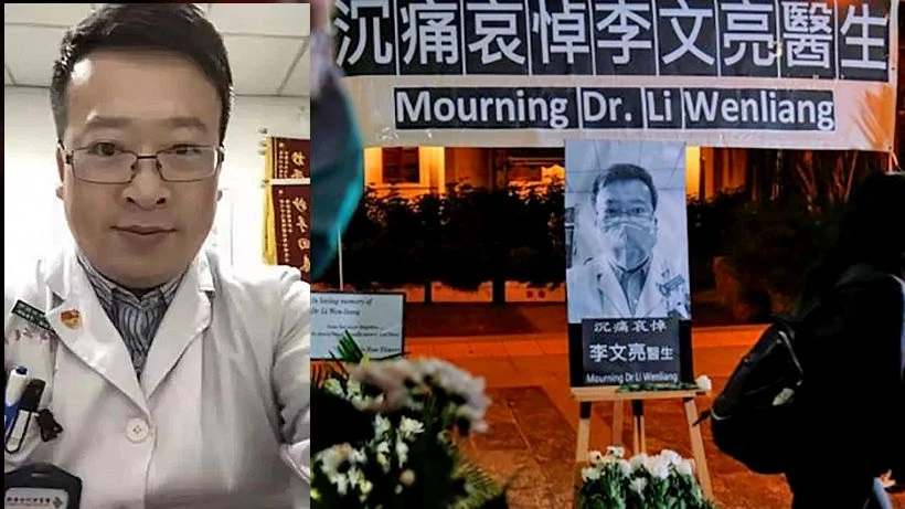 Whistleblower Dr. Li Wenliang before and after his death [Getty]