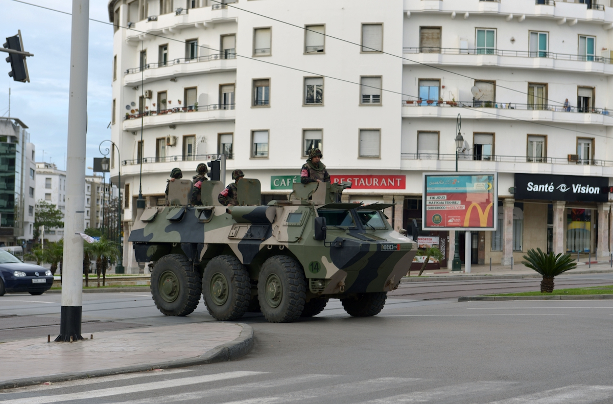 Military armored vehicle at the center of Rabat (AFP)