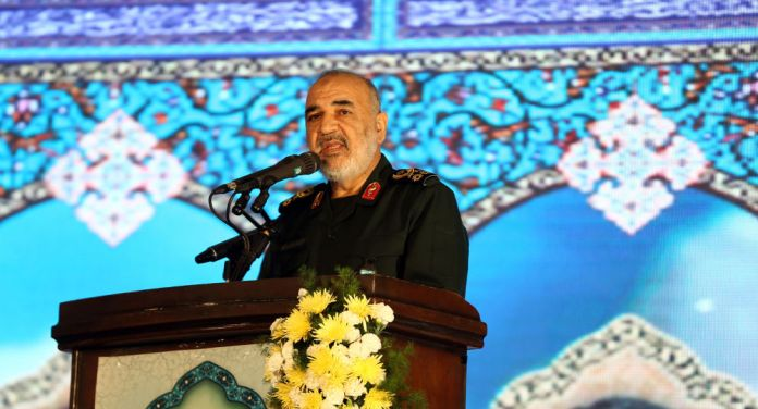 Commander Hussein Salami, who confirmed that Iran's success in launching the first military satellite (Getty)