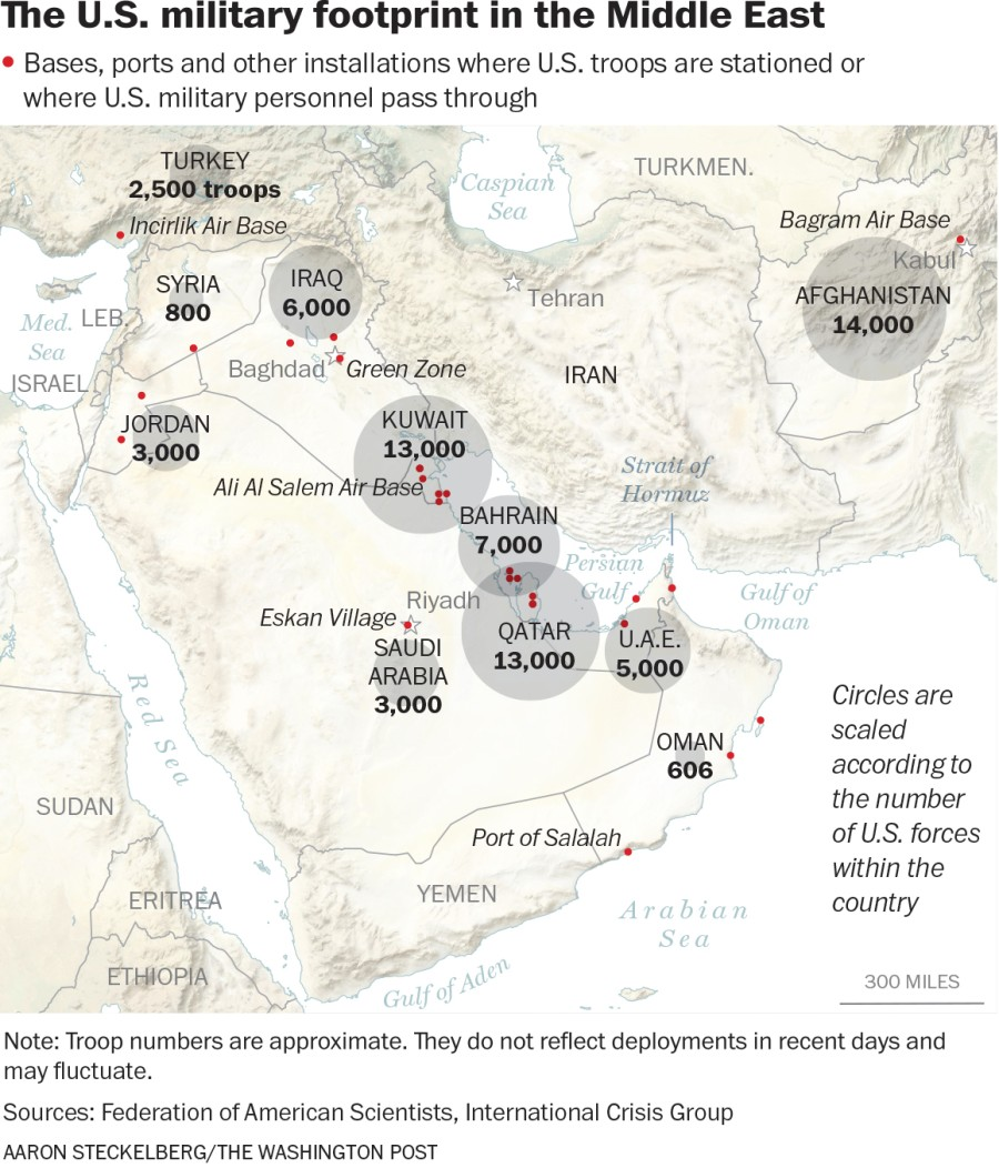 The US Military Footprint in the Middle East (ICG)