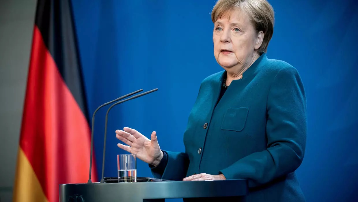 German Chancellor Angela Merkel gives a media statement on the spread of the new coronavirus at the Chancellery in Berlin March 22 [Reuters]