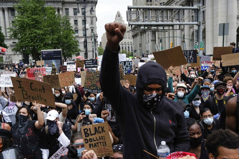 Protesters gather at Foley Square, NY as part of a demonstration to protest the death of George Floyd (AP)